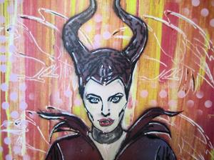 Detail Image for art Maleficent Angelina Jolie Original Pop Urban Graffiti Spray Art