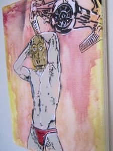 Detail Image for art Star Wars C3PO Sexy Red Thong Original Graffiti Spray Paint Pop Art