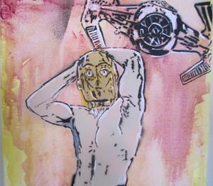 Detail Image for art Star Wars C3PO Sexy Red Thong Original Graffiti Spray Paint Pop Art