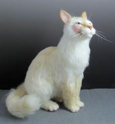 Art: Lucky - needle felted cat portrait by Artist Harlan