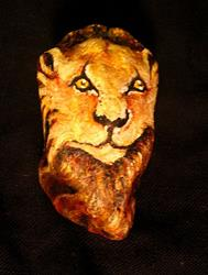 Art: Lion Painted Rock by Artist Patience