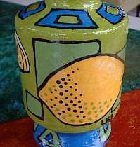 Art: Lemon Lime Mini Diva Vase by Artist Lauren K Blair