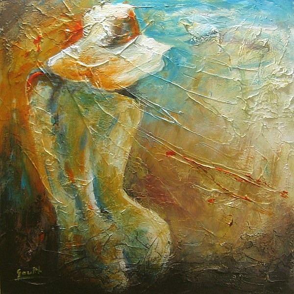 Art: Woman in a Hat by Artist Ewa Kienko Gawlik