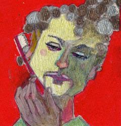 Art: Early Morning/Self Portrait with Toothbrush by Artist Judith A Brody