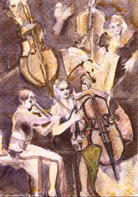 Art: Theatre/In the Orchestra Pit by Artist Judith A Brody