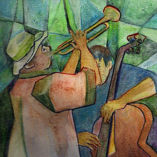 Art: Theatre/Two Man Band by Artist Judith A Brody