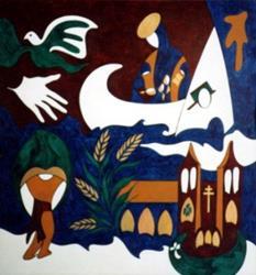Art: Notre-Dame de la Rivière-Rouge by Artist Adrienne Bouchard Langlois