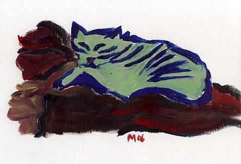 Art: Colour Sketch #1 Cat on a Sofa by Artist Gabriele Maurus