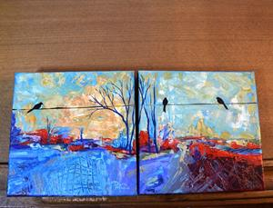 Detail Image for art The Road Less Traveled - Diptych Painting 1