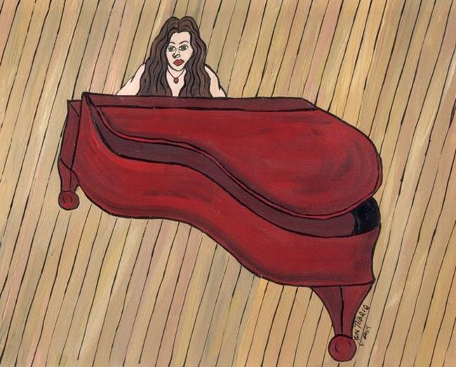 Art: Red Piano by Artist Jen Thario