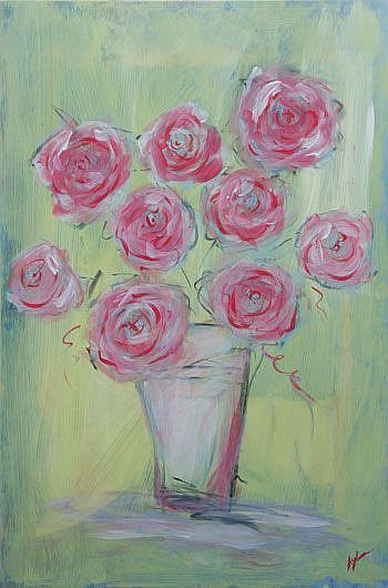Art: Roses on Green - Sold by Artist Aylan N. Couchie