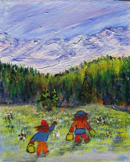 Art: Berry Pickers (sold) by Artist Kathy Crawshay