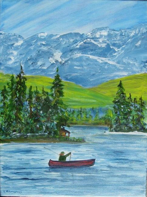 Art: Spring Fishing (sold) by Artist Kathy Crawshay