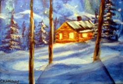 Art: Winter Night (sold) by Artist Kathy Crawshay