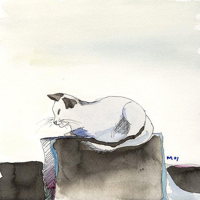 Art: Feline Philosopher by Artist Gabriele Maurus