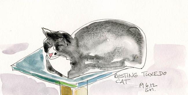 Art: Tuxedo Cat by Artist Gabriele Maurus