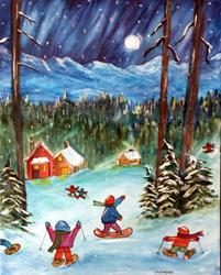 Art: Heading in for Hot Cocoa by Artist Kathy Crawshay