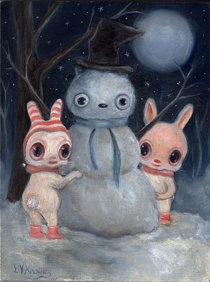 Art: Snow Bunnies by Artist Vicky Knowles