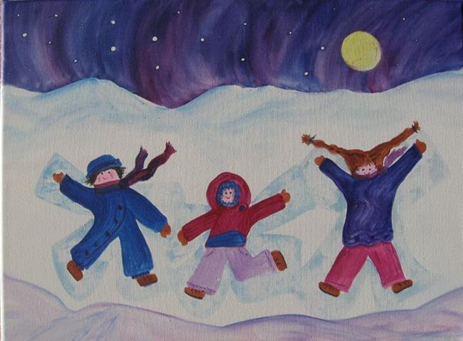 Art: Snow Angels (sold) by Artist Kathy Crawshay