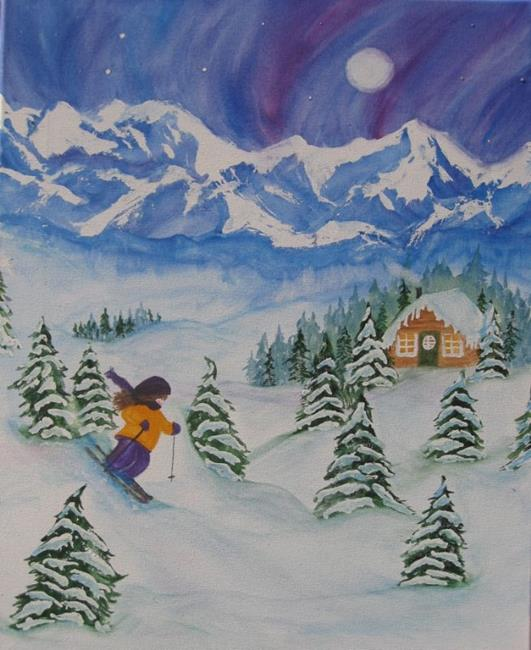 Art: Late Night Ski by Artist Kathy Crawshay