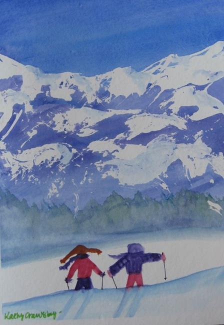 Art: Spring Ski (sold) by Artist Kathy Crawshay