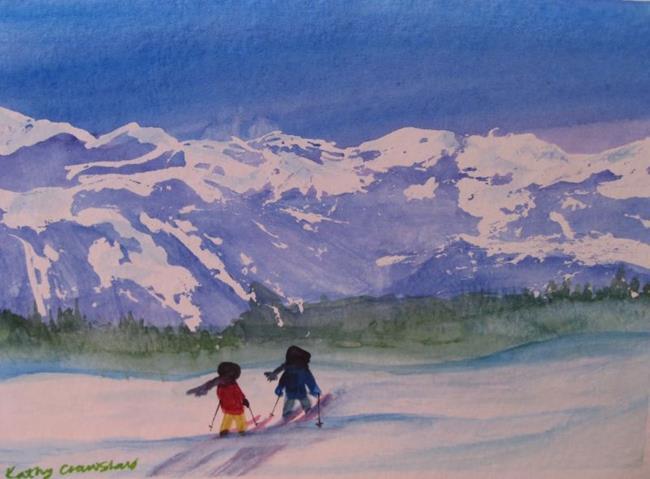 Art: Ski Buddies (sold) by Artist Kathy Crawshay