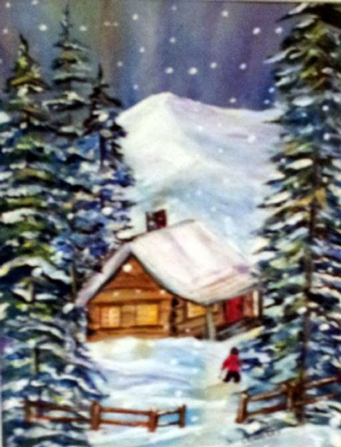 Art: Coffee at the Cabin (sold) by Artist Kathy Crawshay