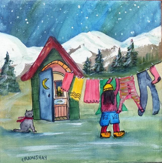 Art: Laundry Day (sold) by Artist Kathy Crawshay