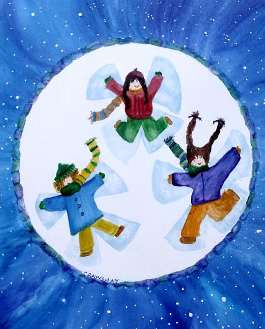 Art: 3 Snow Angels (sold) by Artist Kathy Crawshay