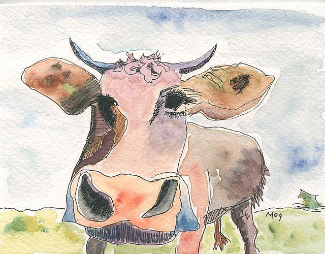 Art: Coral Tone Cow by Artist Gabriele Maurus