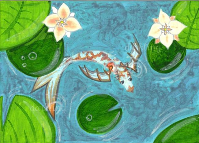 Dragon koi fish 1 by emily j white from paintings for Dragon koi for sale