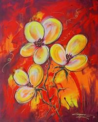 Art: Firey Flowers by Artist Dottie Cooper Katz