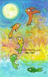 Art: Fish Birds by Artist Emily J White