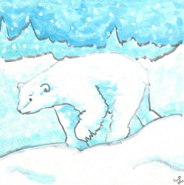 Art: Polar Bear in a Snow Storm by Artist Emily J White