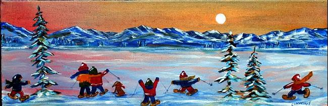Art: Night Snow Shoeing (sold) by Artist Kathy Crawshay