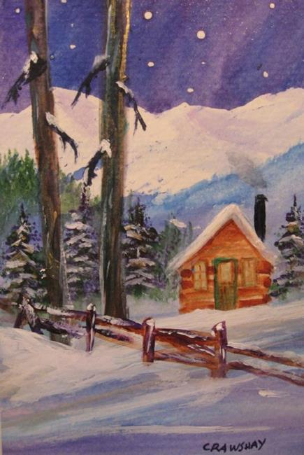Art: Winter Fence (sold) by Artist Kathy Crawshay