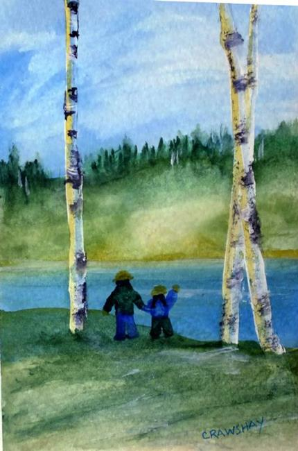 Art: With Dad (sold) by Artist Kathy Crawshay