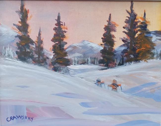 Art: Night Hike (sold) by Artist Kathy Crawshay