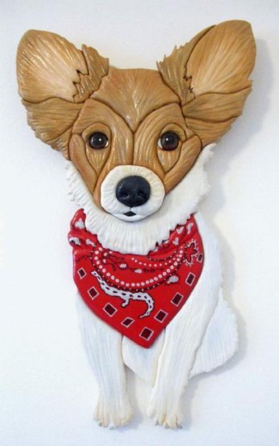 Art: Papillon Dog Original Painted Intarsia Art by Artist Gina Stern