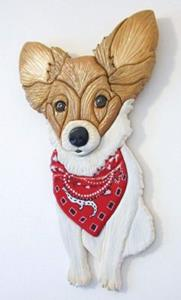 Detail Image for art Papillon Dog Original Painted Intarsia Art