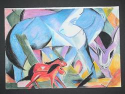 Art: Study of :Die ersten Tiere by Franz Marc by Artist Charley Harding