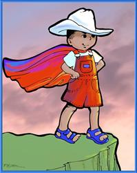 Art: Super Hero Sam by Artist Patricia  Lee Christensen