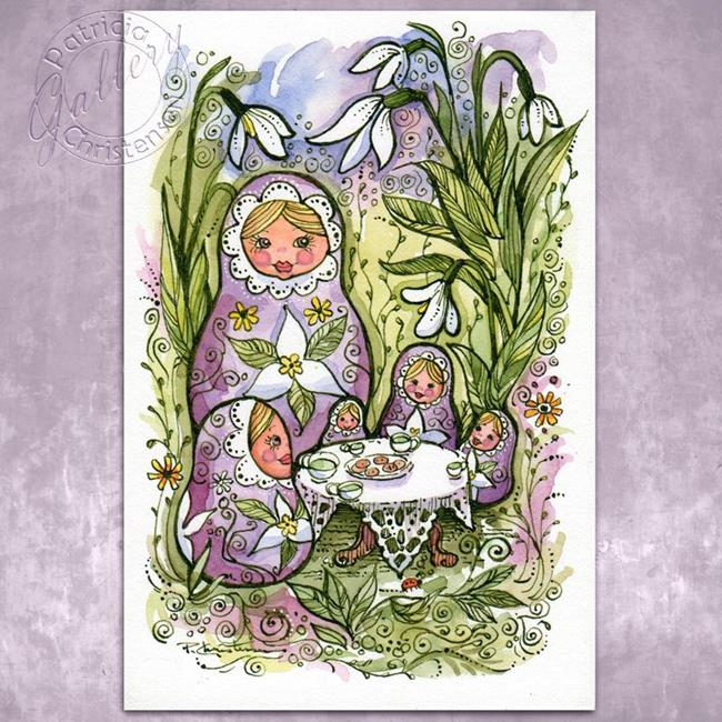 Art: Snowdrops & Matryoshkas by Artist Patricia  Lee Christensen