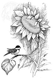 Art: Chickadee & Sunflower by Artist Patricia  Lee Christensen