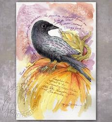 Art: Wise Crow on the Pumpkin by Artist Patricia  Lee Christensen