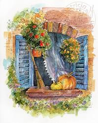 Art: Country Cottage Autumn Window by Artist Patricia  Lee Christensen