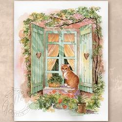 Art: Kitty On Window Sill by Artist Patricia  Lee Christensen