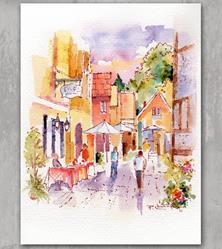 Art: Sunny Street Scene by Artist Patricia  Lee Christensen