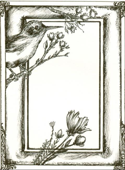 Art: Bird Book Plate by Artist Chris Jeanguenat