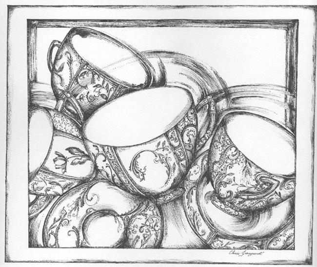 Art: Ornamental Teacups [Sold] by Artist Chris Jeanguenat